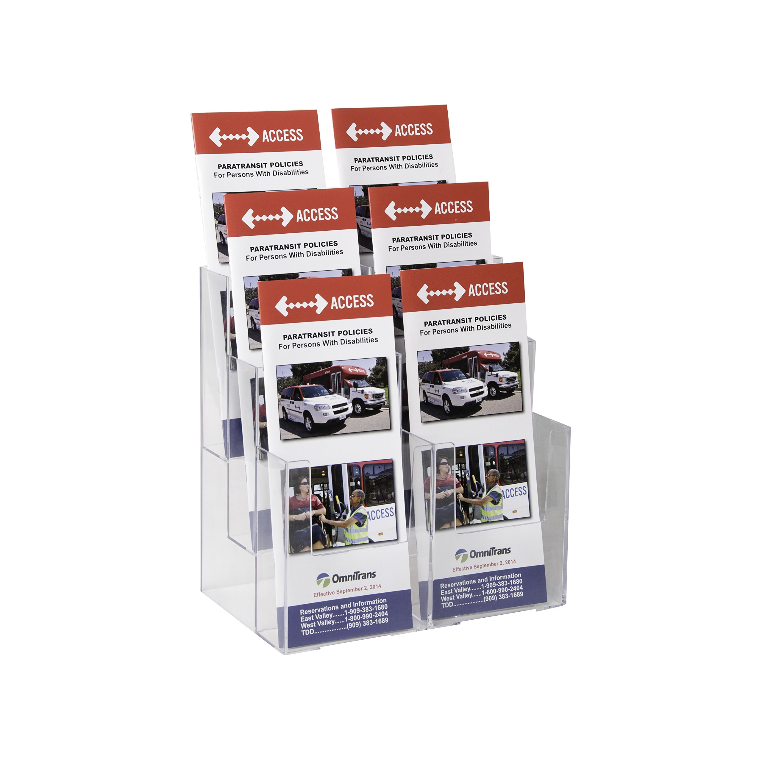 Clear-Ad - LHF-S106 - Acrylic 3 Tier 6-Pocket Brochure Holder - Pamphlet Display Rack (Pack of 9)