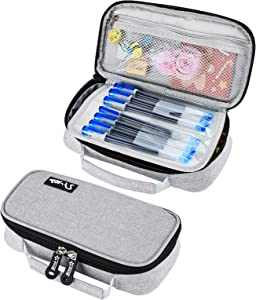 Pencil Case for Boys Girls, Kalokey Stationery Bag Pen Pouch Marker Holder Organizer Large Capacity with Zippers, Multifunctional Portable for School College Office (Gray)