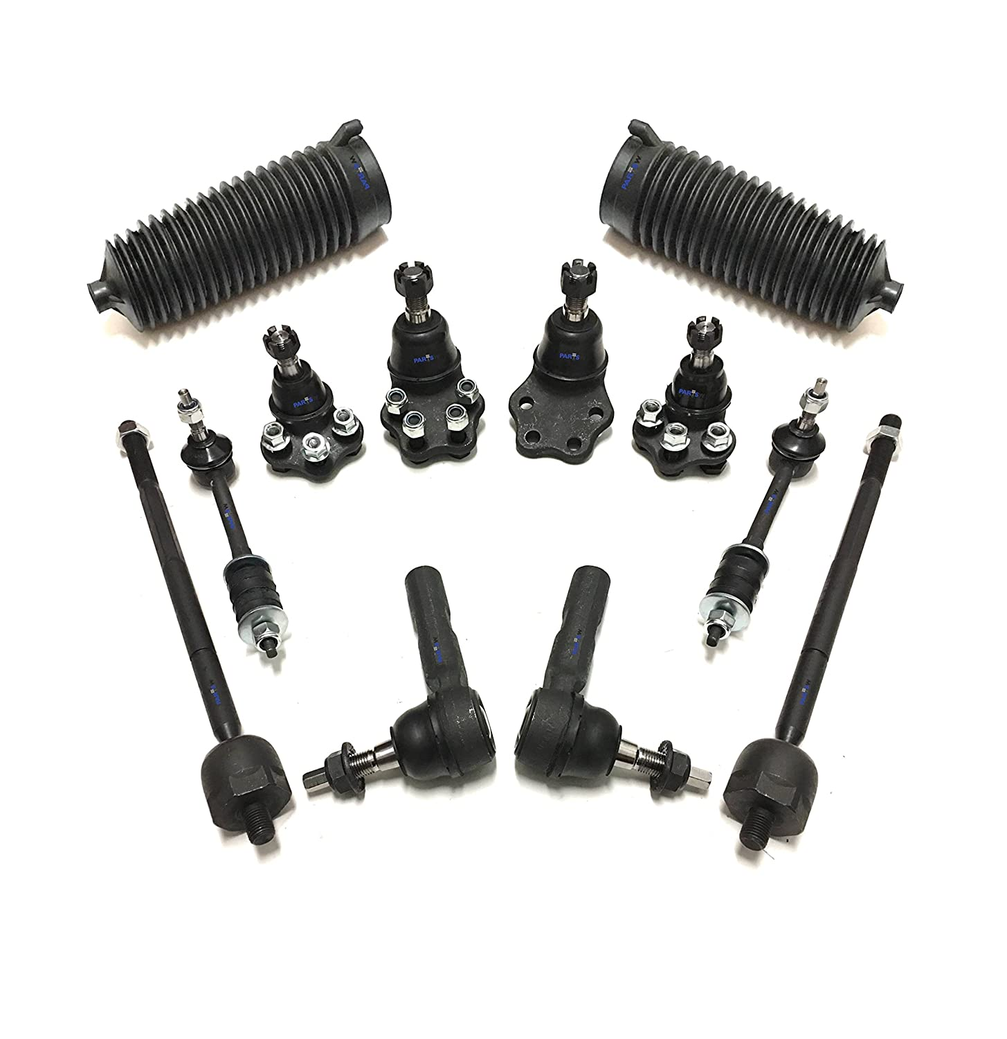 PartsW 12 Pc Front Suspension Kit for Dodge Dakota 2000-2004 & Durango 2000-2003 RWD Models Inner & Outer Tie Rod Ends, Gear Bellows, Sway Bar End Links, Upper & Lower Ball Joints