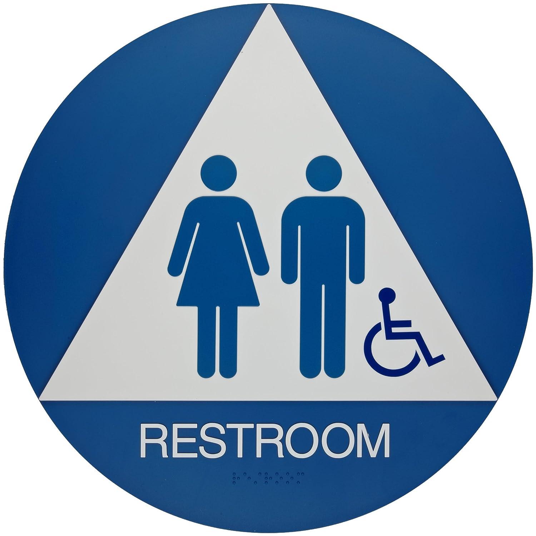 "Brady California/ADA Restroom Sign,Legend ""Restroom"" - Plastic, White on Blue, 12"" Diameter - 106184"