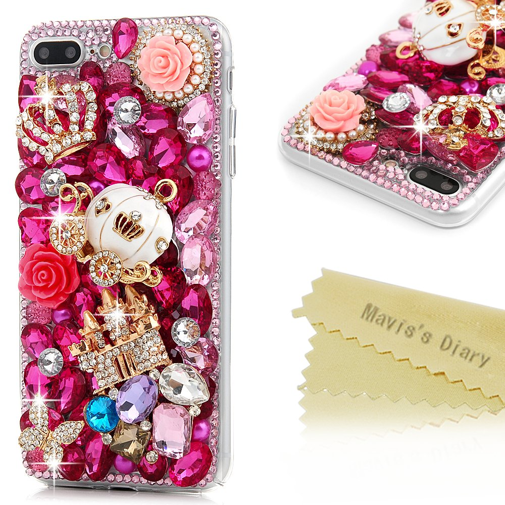 "iPhone 8 Plus Case, iPhone 7 Plus Case (5.5"") - Mavis's Diary 3D Handmade Luxury Bling Crystal Golden Castle White Pumpkin Carriage Pink Shiny Diamonds Glitter Rhinestones Gems Clear Hard PC Cover"