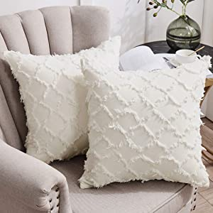 Longhui bedding Ivory White Throw Pillow Covers for Sofa, Couch, Bedroom, Family Room – Set of 2 Decorative Pillows 18 x 18 Inches Cotton Linen Cushion Covers, No Inserts