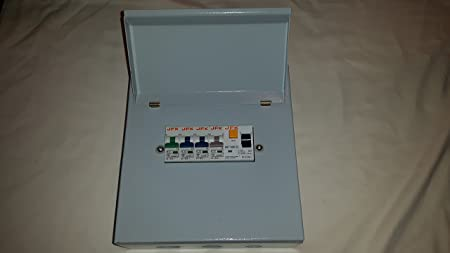 garage consumer unit metal clad 4 way fuse box fitted with rcd 63amp 30ma +  1x6amp