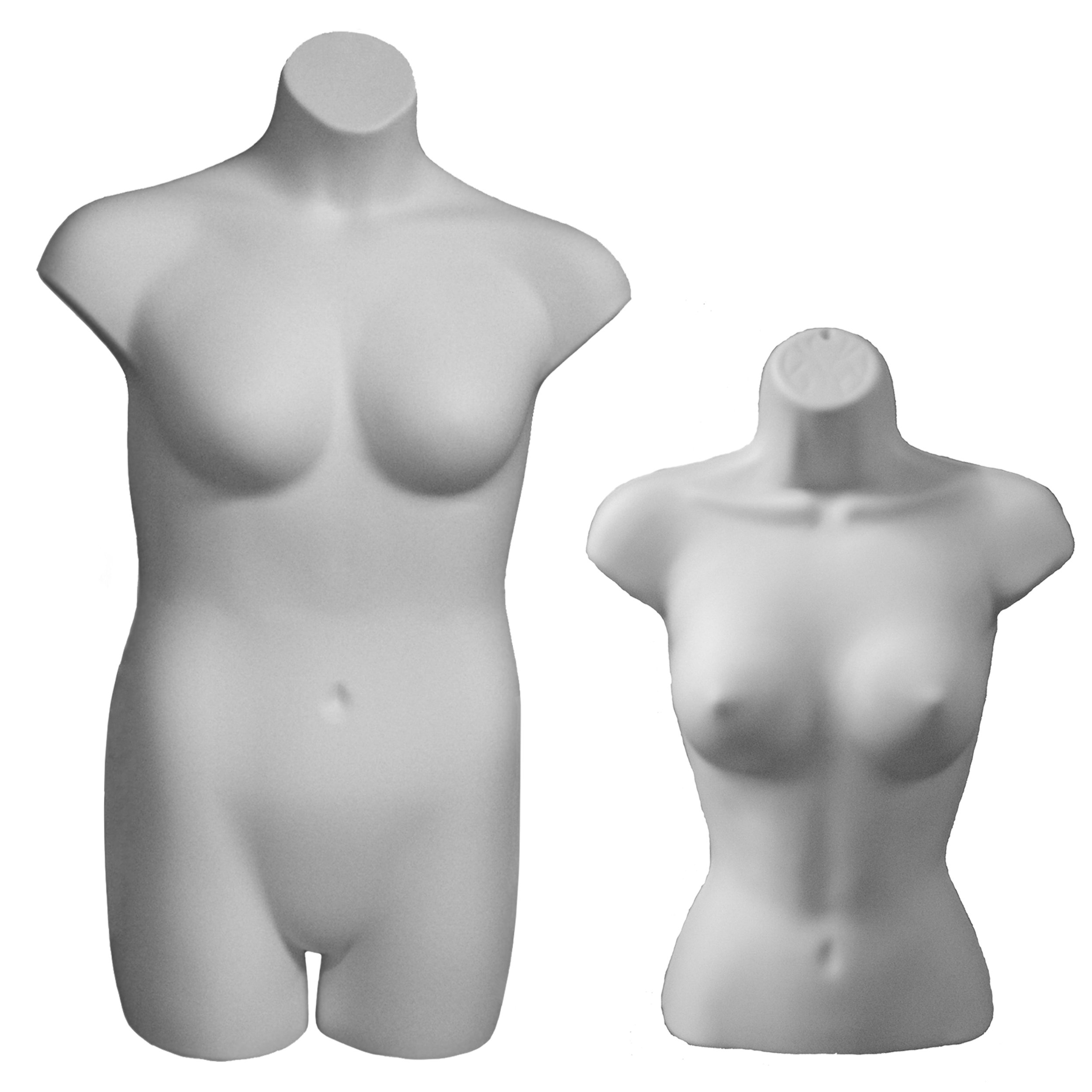 Female Torso & Plus Size Display Forms, White