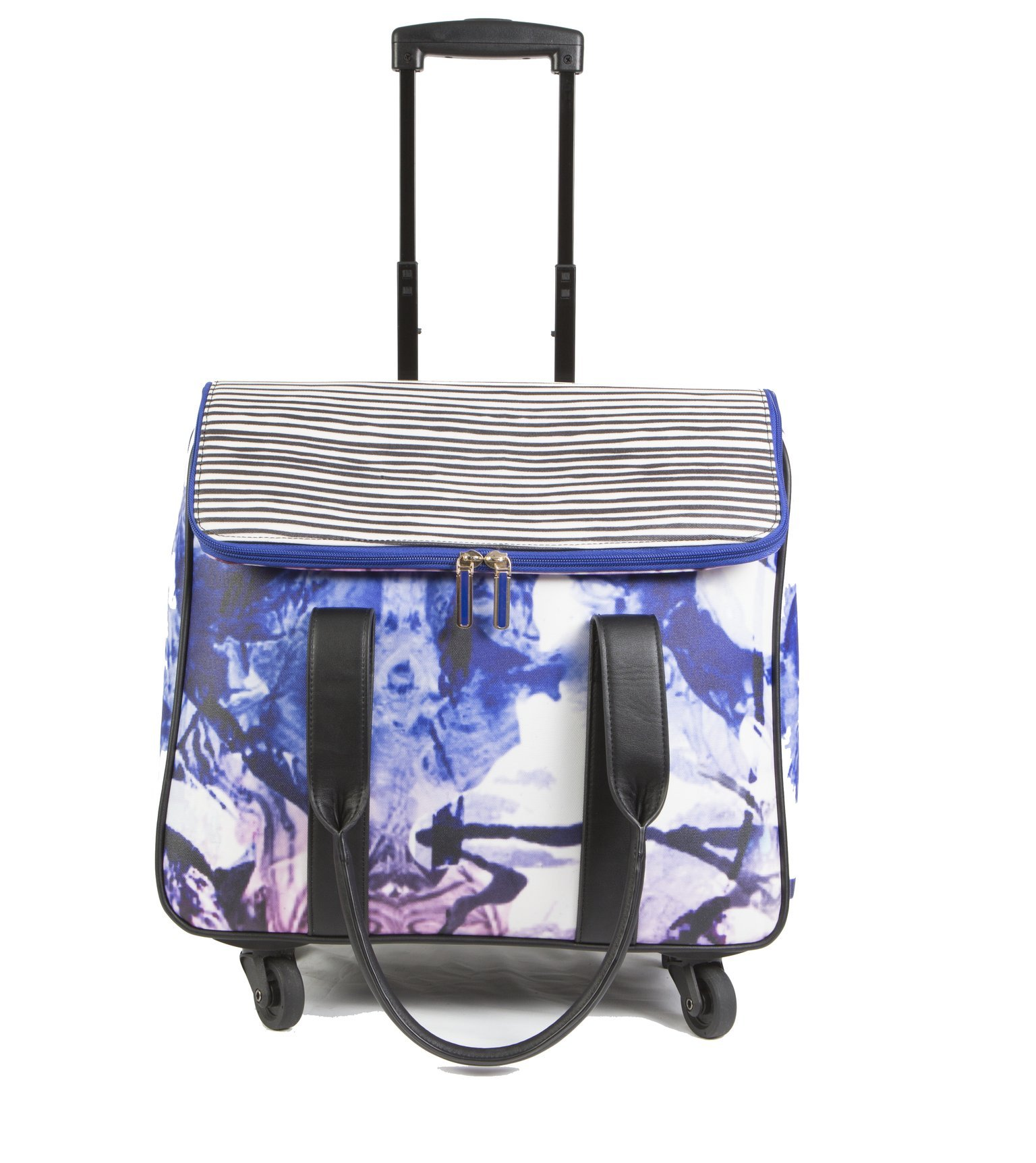 Hang Accessories Printed Waxed Canvas Rolling Carry On Trolley Bag - Wheeled travel, work, and weekend tote.