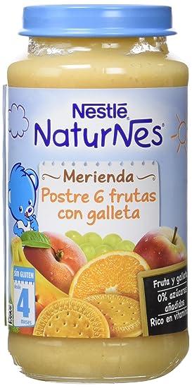 Nestlé Purés Merienda - Tarrito de puré de fruta y galleta sin gluten - variedad Postre