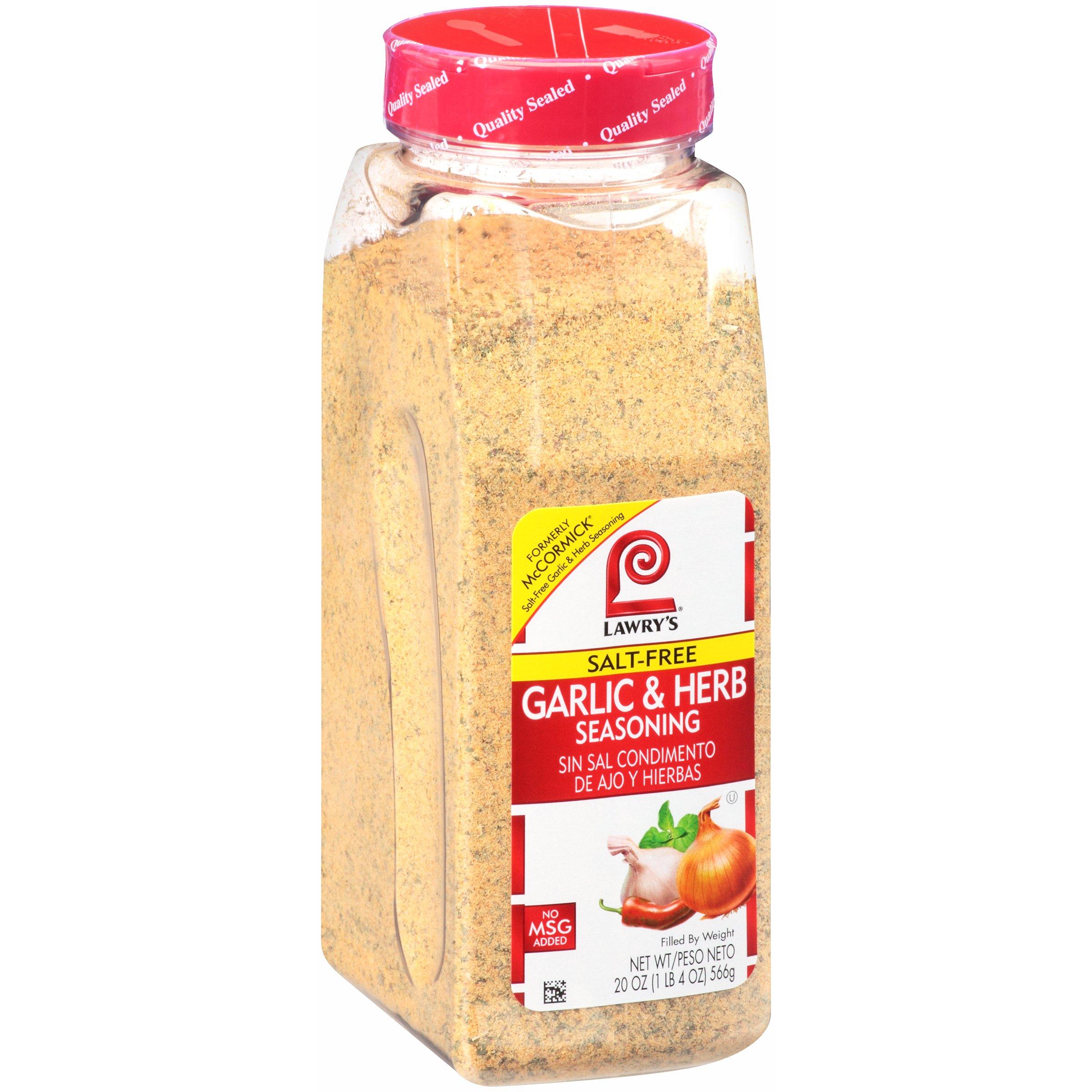 Lawry's Salt Free Garlic & Herb Seasoning, 20 Ounce