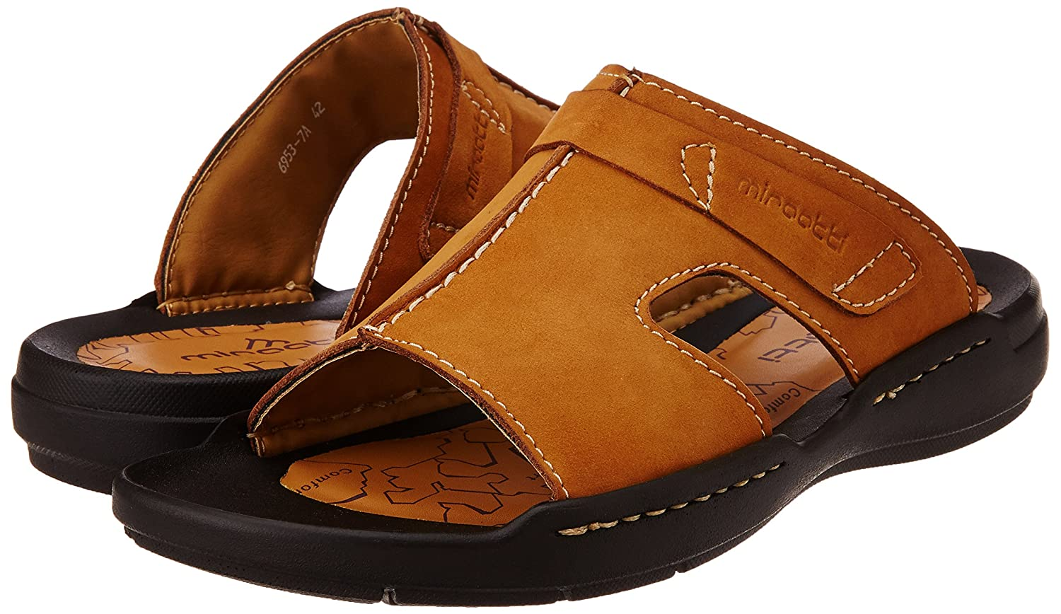 7e1c9c19b96 Miraatti Men s Apricot leather Sandals and Floaters - 11 UK (6953-7A)  Buy  Online at Low Prices in India - Amazon.in