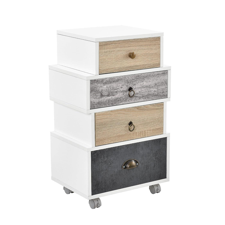 [en.casa] Comodino design retro highboard/como / sideboard 'Hamburg' con 4 cassetti - bianco/rovere/grigio (arrotolabile)
