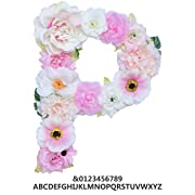 ZHENHAN Artificial Decorative Letter with Flowers, Pink, 7.9 x5.5 x1.1 , Letter with Fake Flowers/Floral Decor/for Special Occasion/Event/Home Decorating (Letter, P)