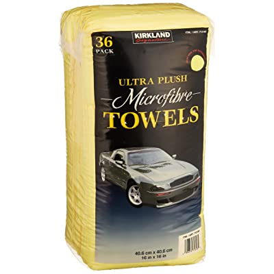 Kirkland Signature Ultra High Pile Premium Microfiber Towels, 36 Count (Pack of 1), Yellow - 713160: Automotive