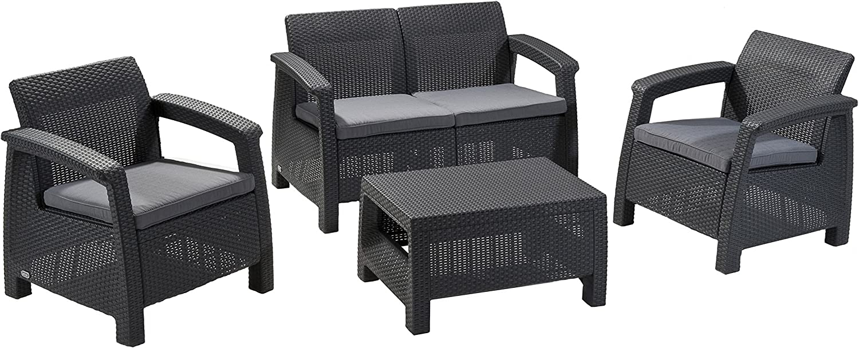 Keter Corfu 5 Piece Set All Weather Outdoor Patio Garden Furniture w/  Cushions, Charcoal - 212585