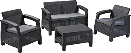 Keter Corfu Armchair All Weather Outdoor Patio Garden Furniture with Cushions Charcoal