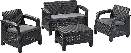 Keter Corfu - Juego de 4 muebles de jardín para exteriores con cojines, color carbón – 212584: Amazon.es: Jardín