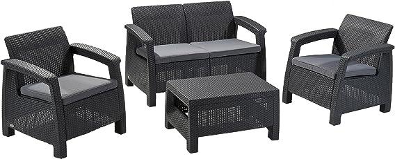 Keter Corfu 4 Piece Set All Weather Outdoor Patio Garden Furniture  W/Cushions, Brown