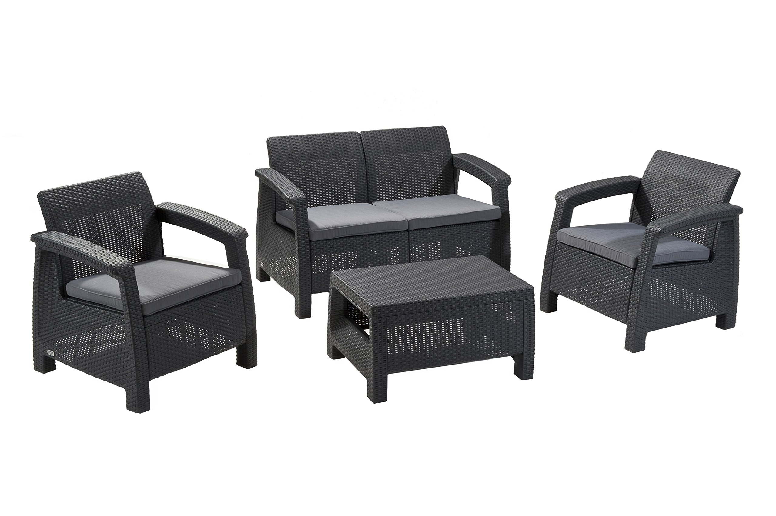 Keter Corfu 4 Piece Set All Weather Outdoor Patio Garden Furniture w/ Cushions, Charcoal - Ergonomically engineered for ultimate comfort Contemporary tones of natural looking rattan in dark grey High quality polypropylene resin won't rust or fade - patio-furniture, patio, conversation-sets - 81jAmjBRGxL -