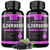 Elderberry Capsules for Immune Support Booster - Zinc & Vitamin C Echinacea Extract...