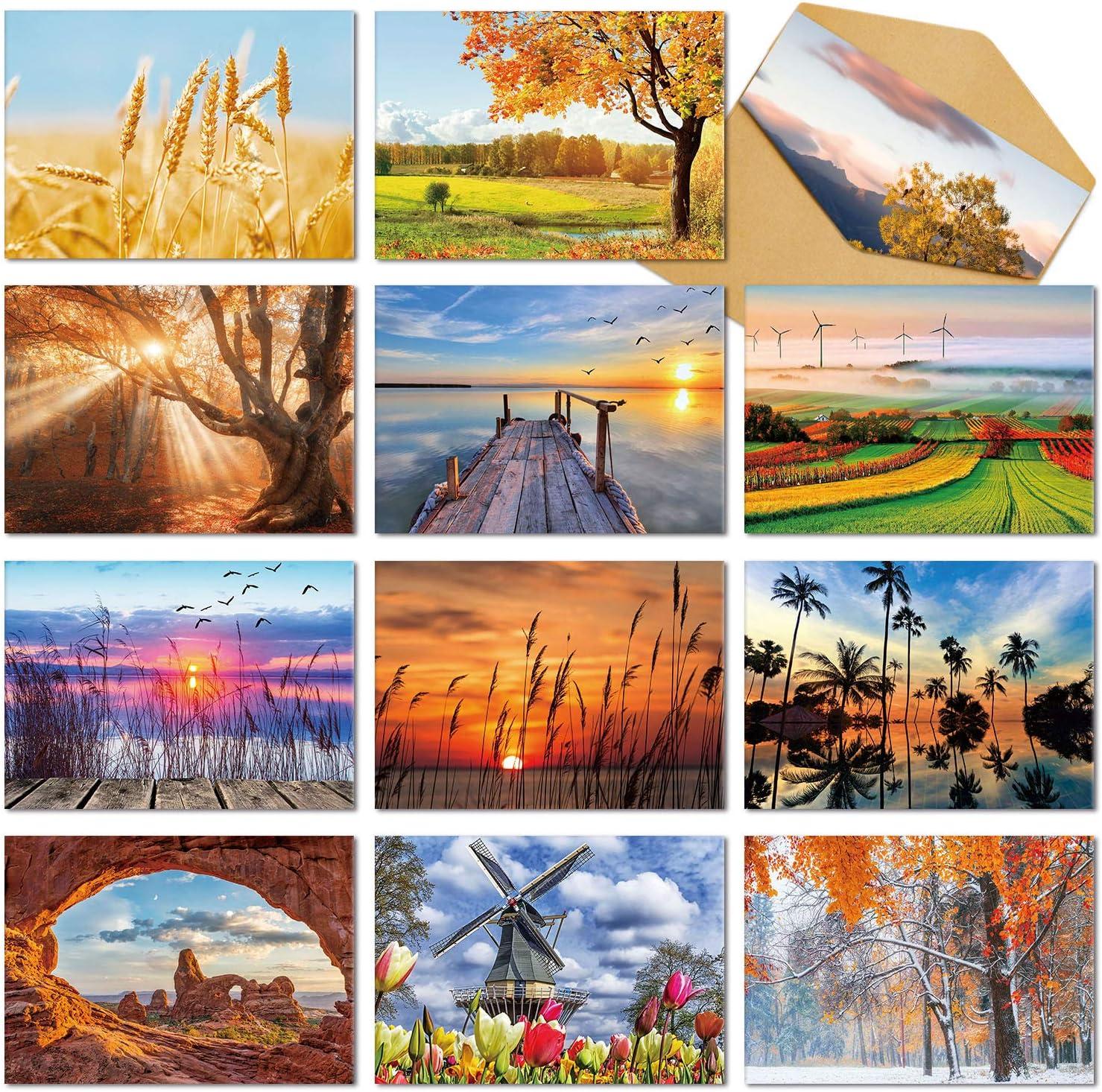 pliant Blanc Note Cartes Assortiment, Deeplay Pack 24 Paysage cartes de vœux