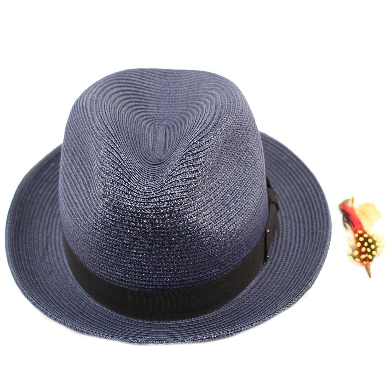 SK Hat shop Mens Light Removable Feather Derby Fedora Wide Curled Brim Hat