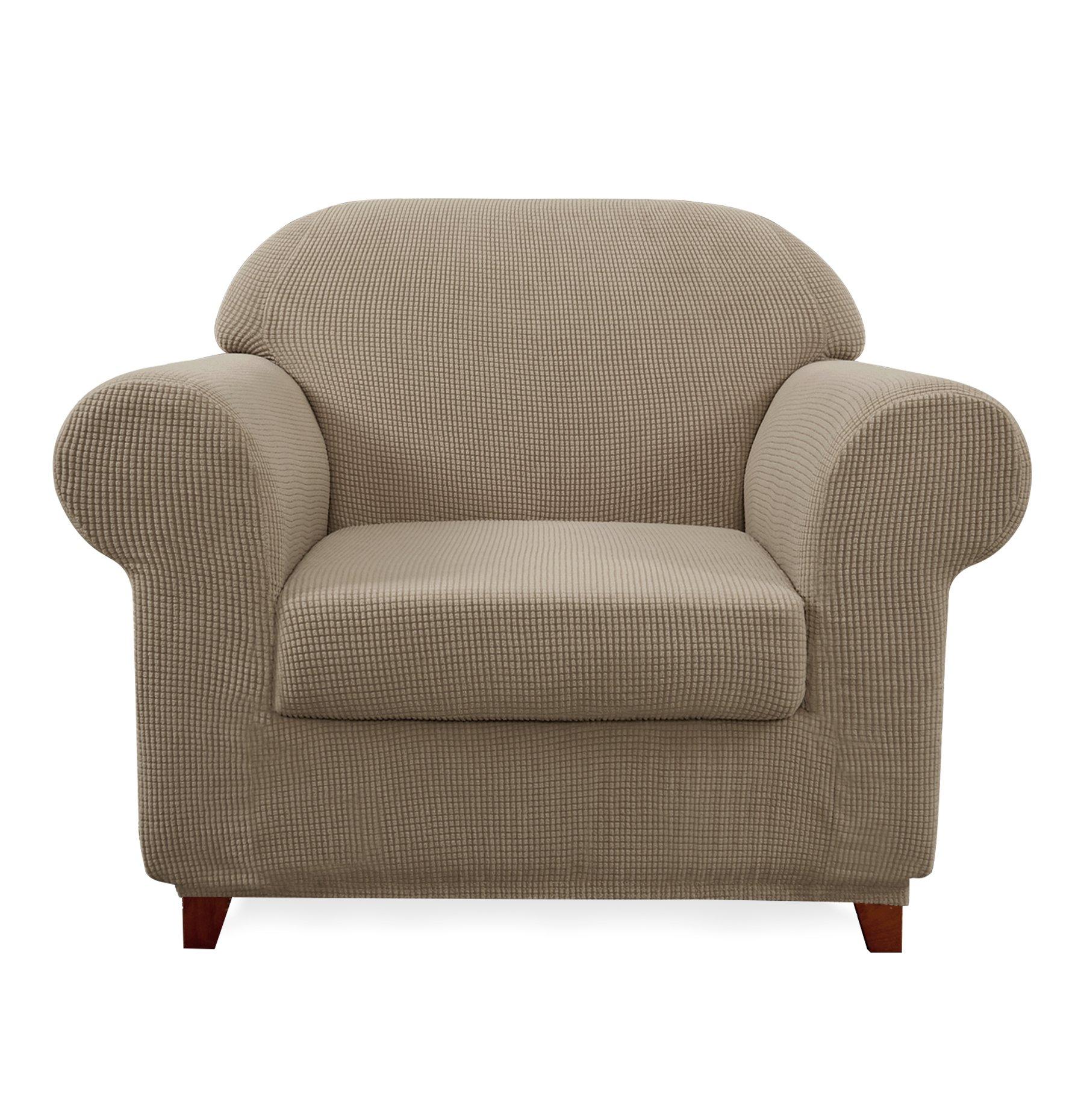 Subrtex 2-Piece Spandex Stretch Sofa Slipcover(Chair, Sand)