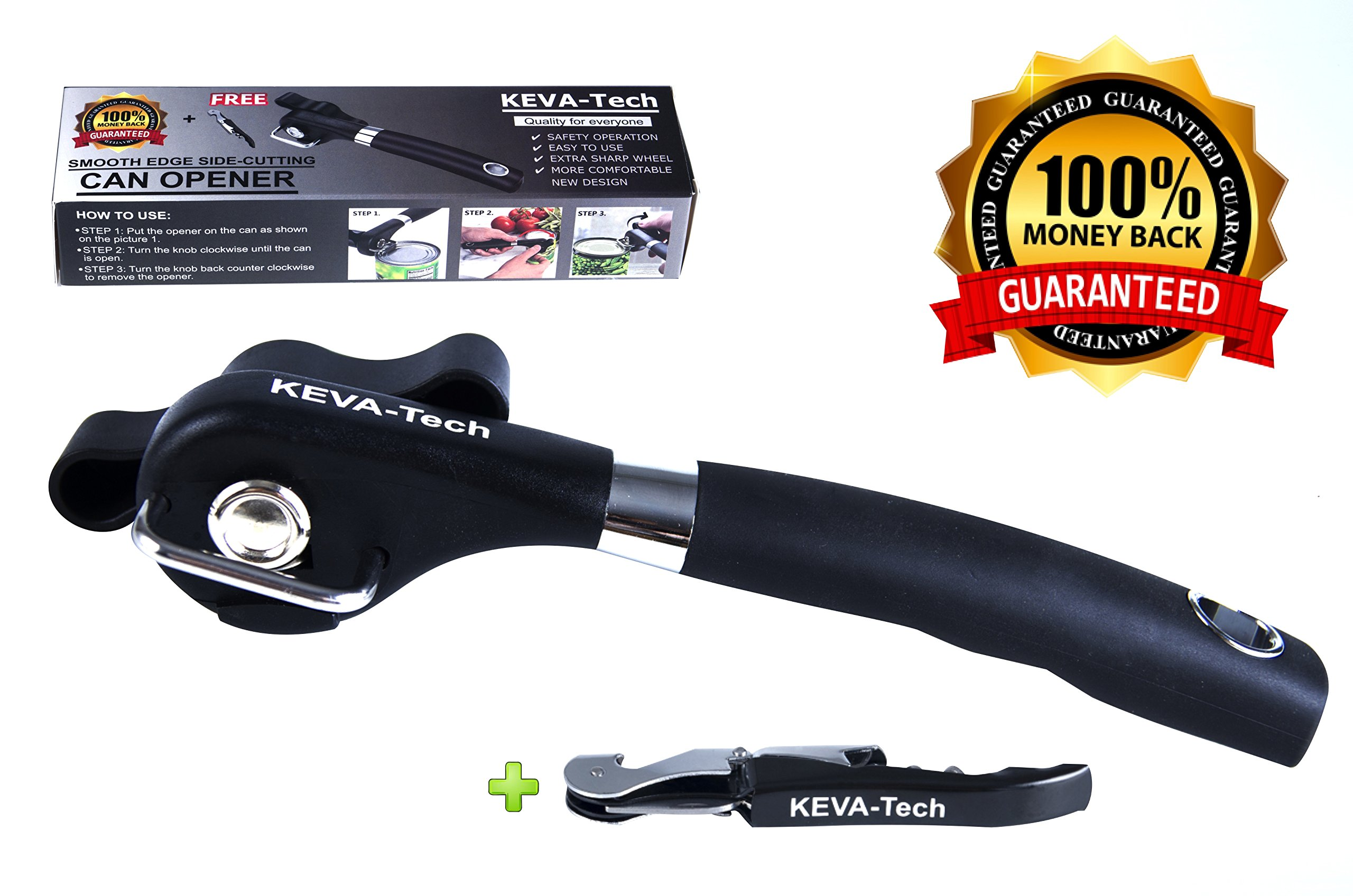Best Quality Manual Can Opener by KEVA-Tech, Professional Smooth Edge Can Opener with Bottle Opener, Ergonomic Good Grips Handle, Safe/Easy to Use, No Rust Stainless Steel,