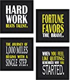 Sifty collections Motivational Square Synthetic Wood Art Painting (23 cm x 23 cm x 6 cm, Set of 4)