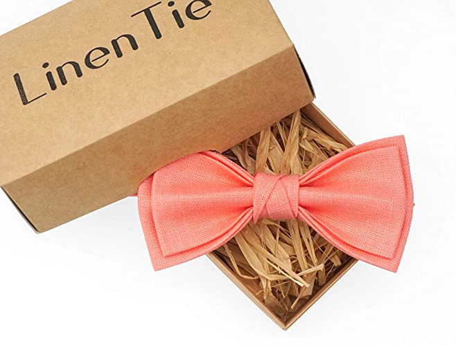 f2935759c3282 Amazon.com: Rose quartz linen pre-tied bow ties for men and toddler ...
