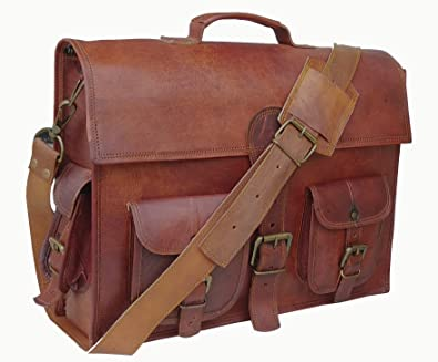 94624af440ce Amazon.com  DHK 16 Inch Vintage Handmade Leather Messenger Bag Laptop  Briefcase Computer Satchel bag For Men  Shoes