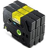 Alaskaprint 3x Nastro Tape Cassette Brother TZE-631 / TZ-631 Nero su giallo 12mm x 8m compatibile per Brother P-Touch GL200 D200 E100 H100R H105 H300 1000 1010 1090 1230PC 2030VP 7100VP 1800 1250VP 1260VP 2430PC GL-H105 PT-1080 PT-P700 PT-H300 1830VP 2100VP (3x Pezzo)