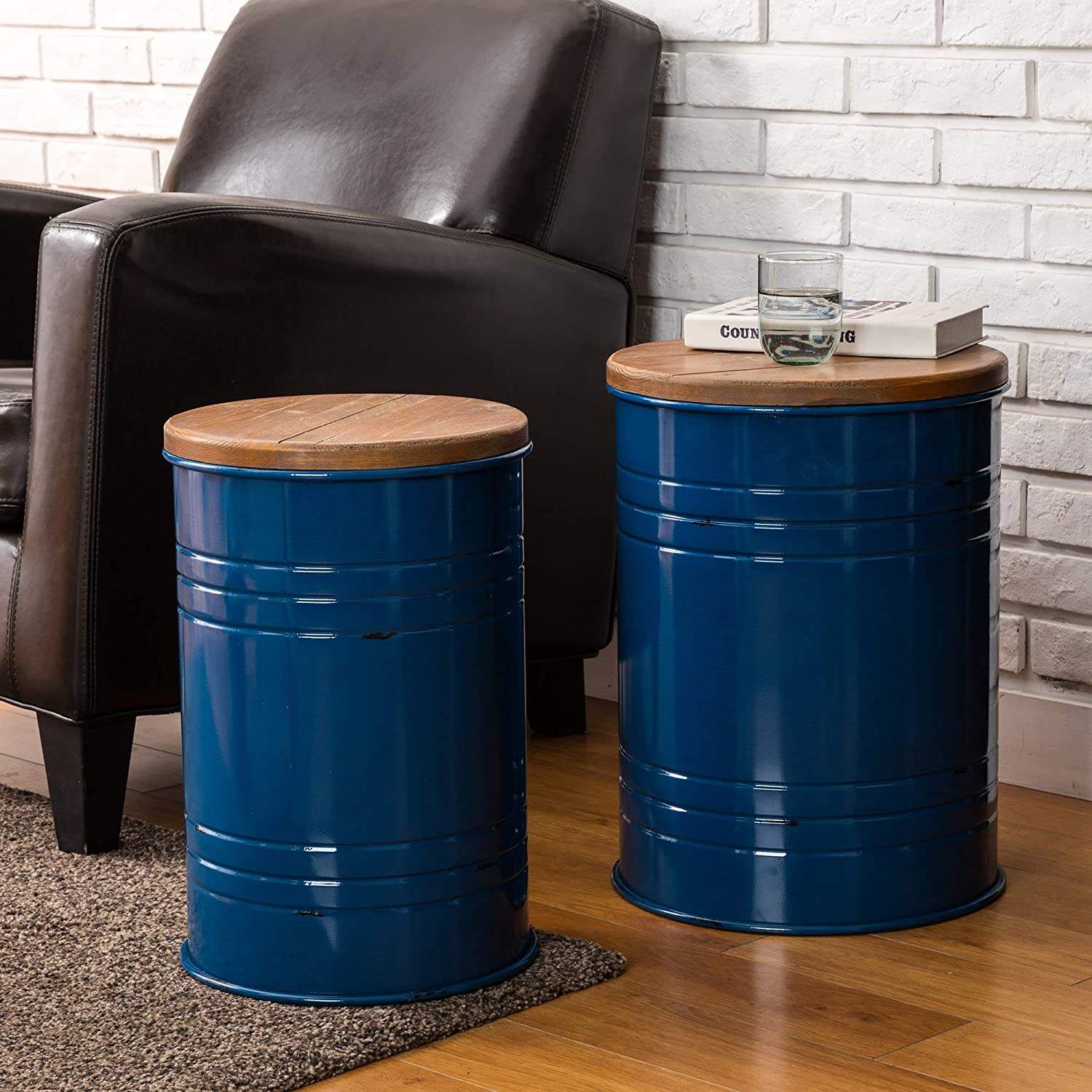 Glitzhome Rustic Storage Ottoman Seat Stool, Farmhouse End Table, Galvanized Metal Accent Side Table Toy Box Bin with Round Wood Lid for Living Room Furniture, Nesting Pieces Two, Navy Blue