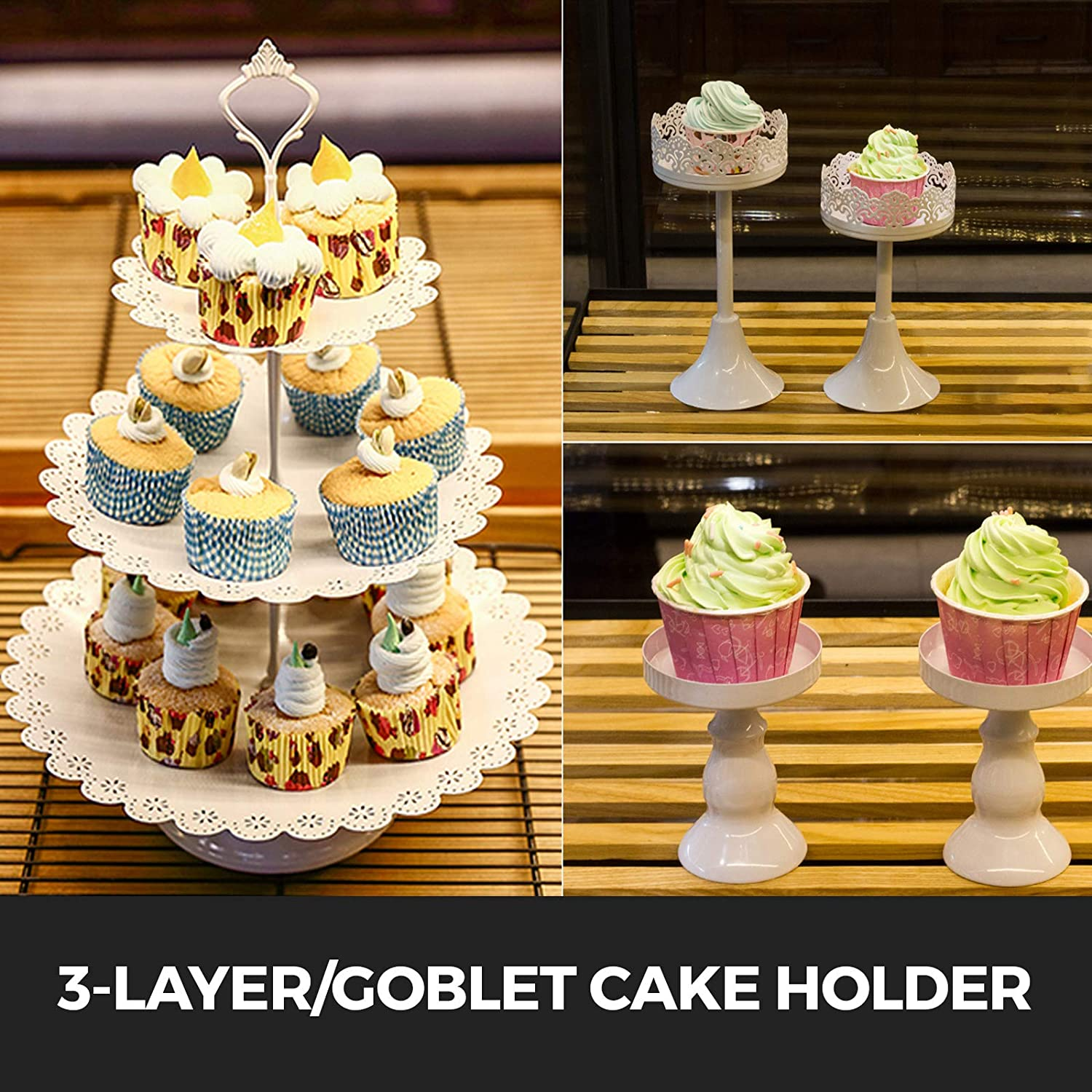 6PCS, White Happybuy 6 PCS Antique Metal Cake Stand Set with Crystal Pendants and Beads 3-Layer Tower Cake Plate Rectangle Cake Pans Round Dessert Holder Cupcake Stands for Party Wedding Birthday