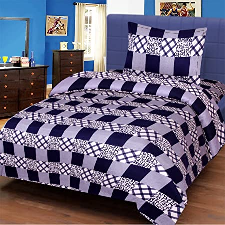 Veer Fab 3D Printed 180TC Polycotton Single Bedsheet with 1 Pillow Cover (Multicolour)