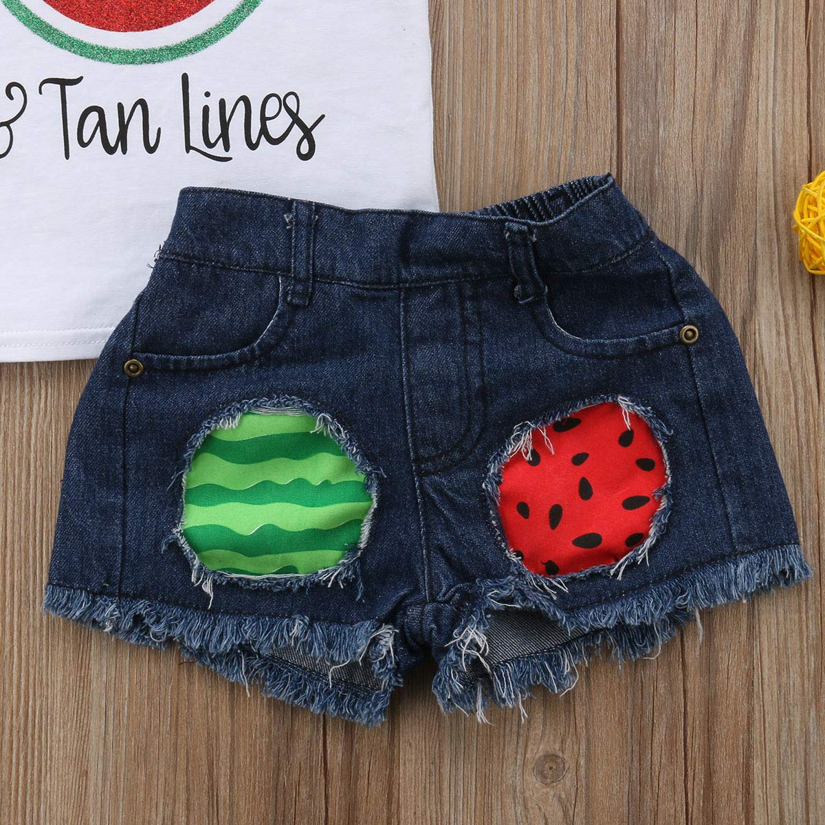 Toddler Baby Girls Watermelon Letters Tank Tops Ripped Denim Shorts Outfit Set