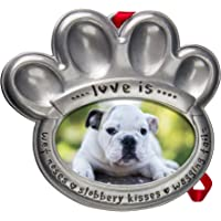 Pewter Pet Paw Photo Ornament