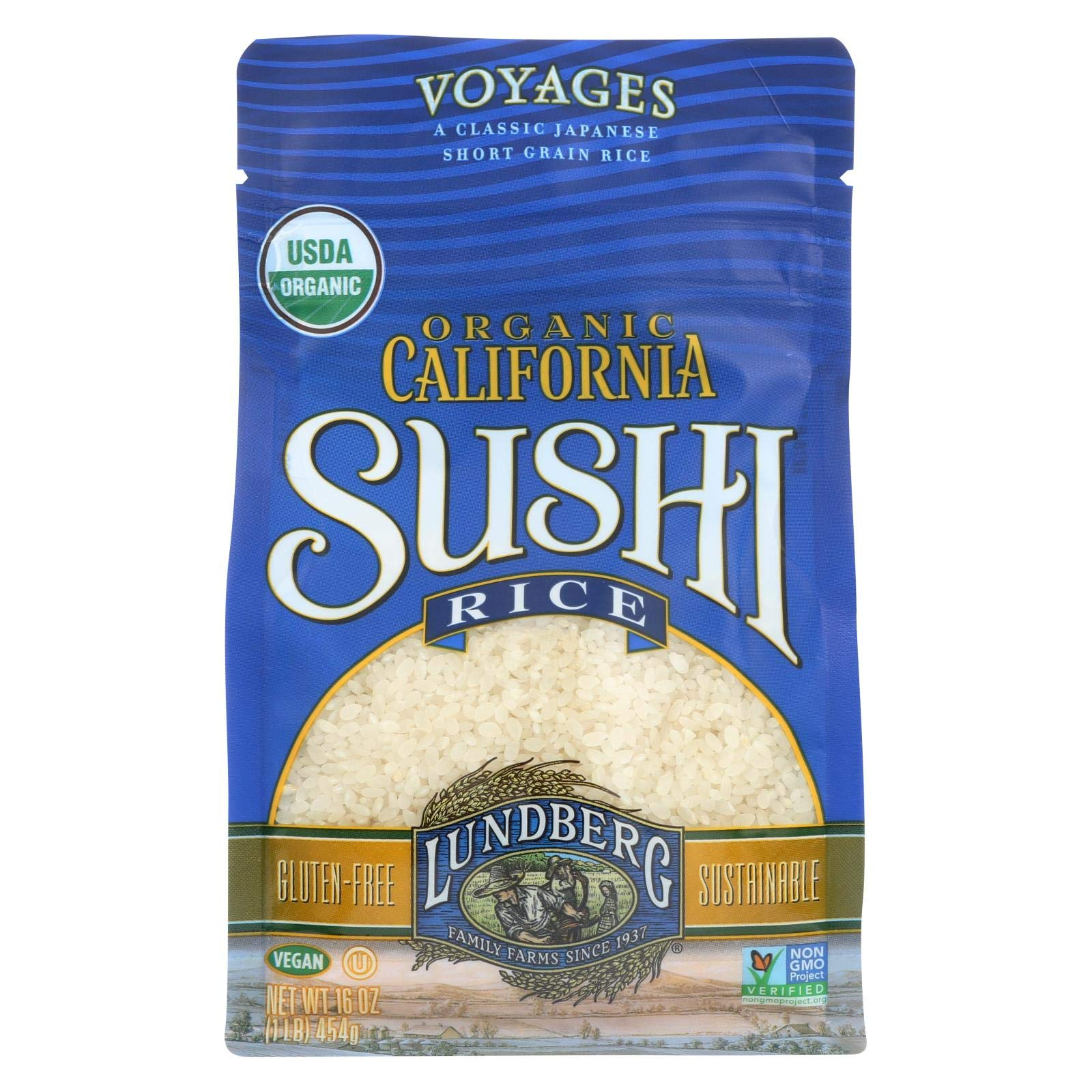 Organic California Sushi Rice 1 Pounds (Case of 6) by Lundberg