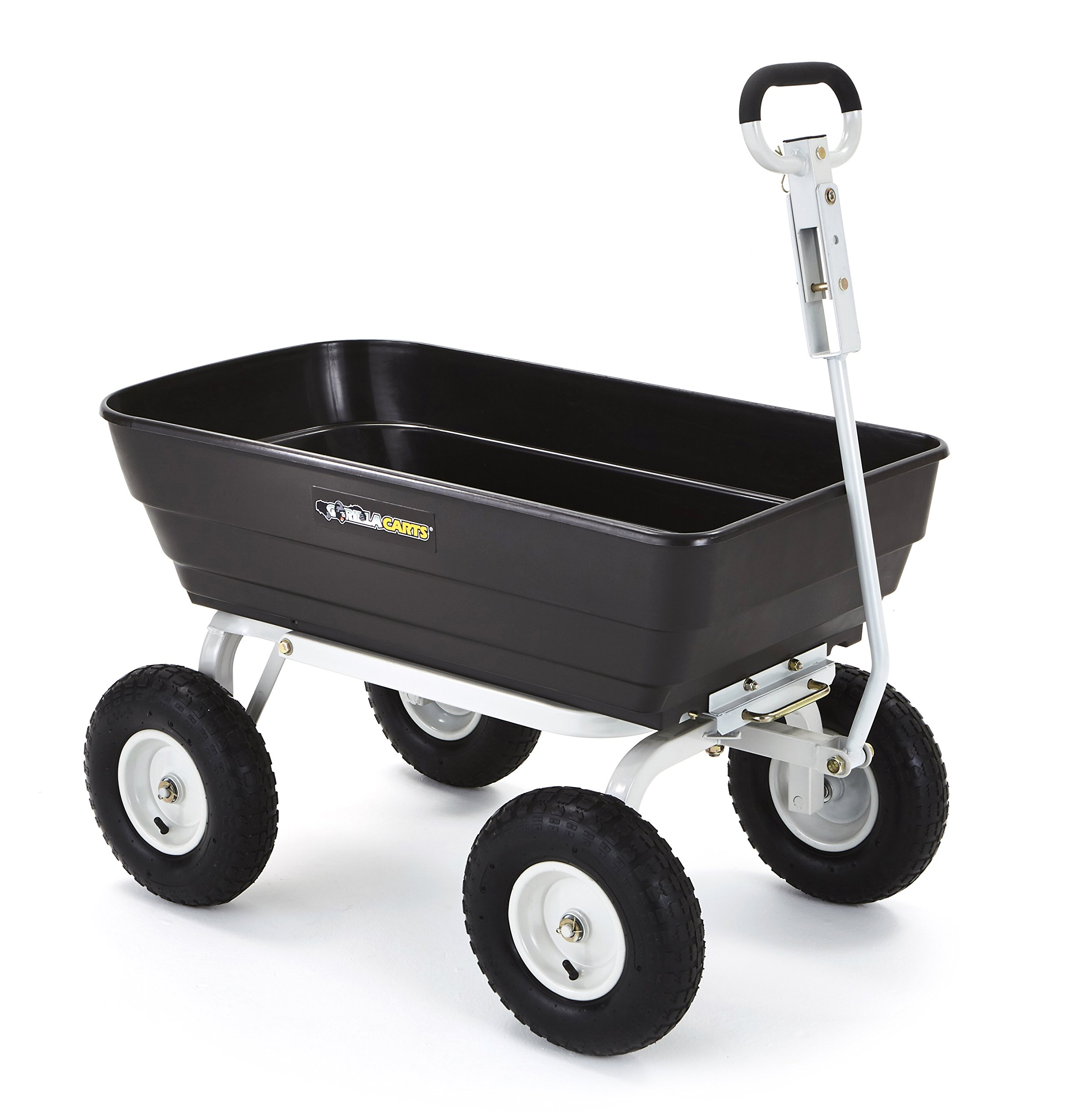 Gorilla Carts Poly Garden Dump Cart with 2-in-1 Convertible Handle with a Capacity of 1000 lb, Black