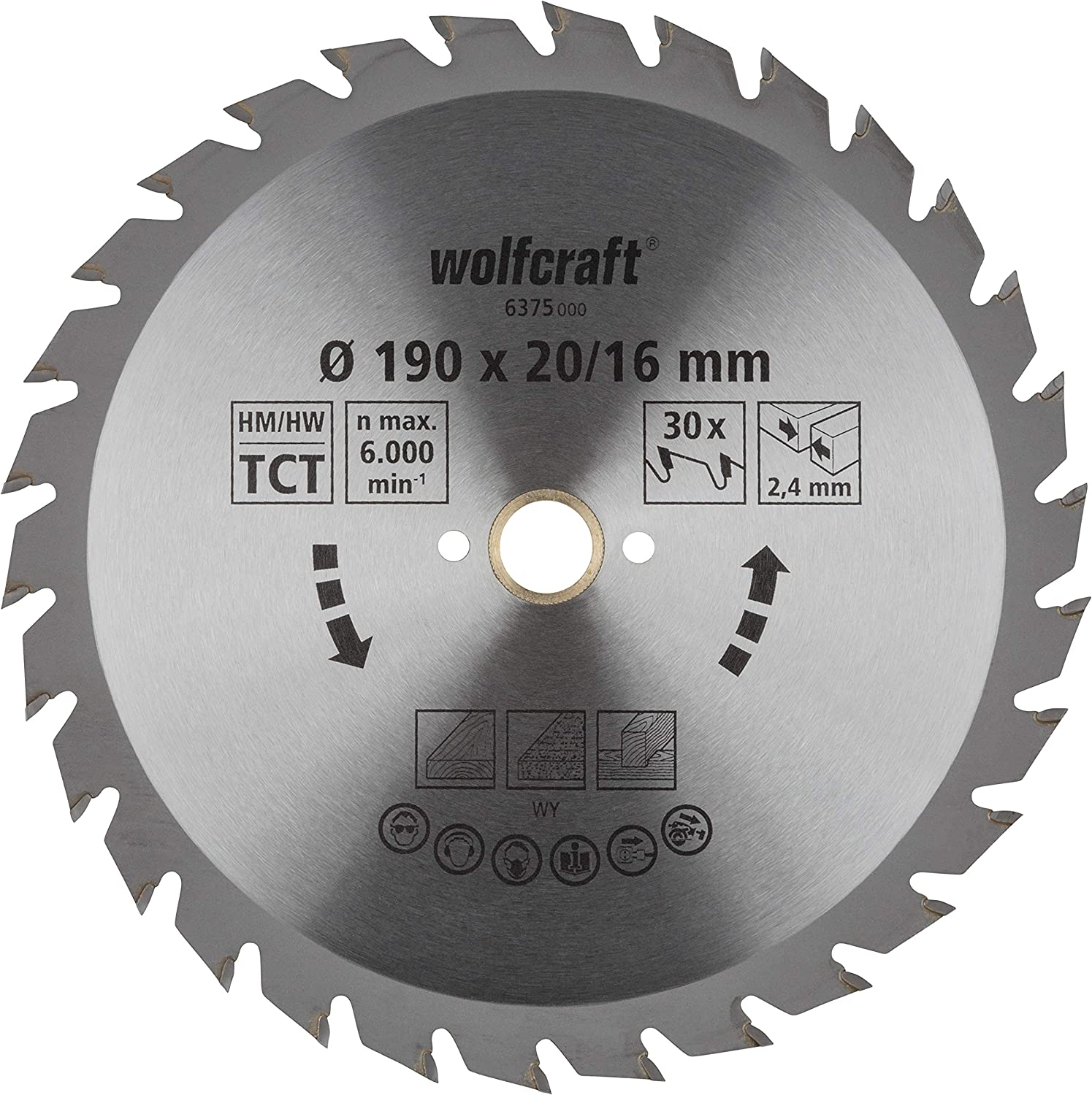 Wolfcraft 6375000 190 x 16 2.4mm with 30 Saw Blade New arrival Seasonal Wrap Introduction Circular CT