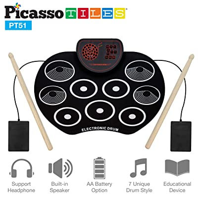 PicassoTiles Kid's Roll Up Electronic Drum Kit w/ Built-in Speaker - Portable Digital Midi Drum Pad & Sticks - 7 Drum Styles Headphone Jack Educational Musical Toy for Beginners Toddlers & Kids PT51: Toys & Games