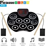 PicassoTiles Kid's Roll Up Electronic Drum Kit w/ Built-in Speaker - Portable Digital Midi Drum Pad & Sticks - 7 Drum Styles Headphone Jack Educational Musical Toy for Beginners Toddlers & Kids PT51
