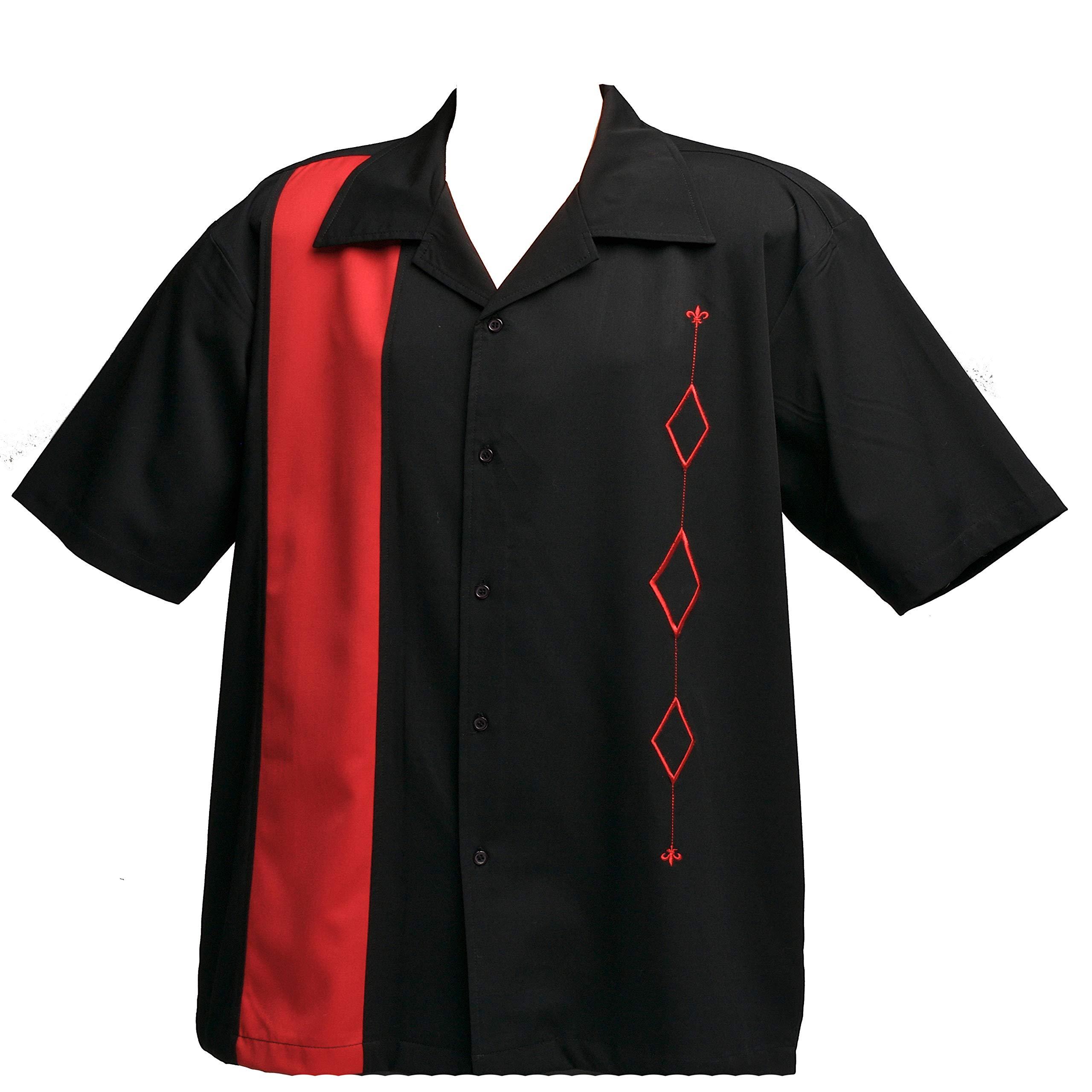 Designs by Attila Mens Retro Bowling Shirt, BIG & TALL. Red & Black, Size XLT