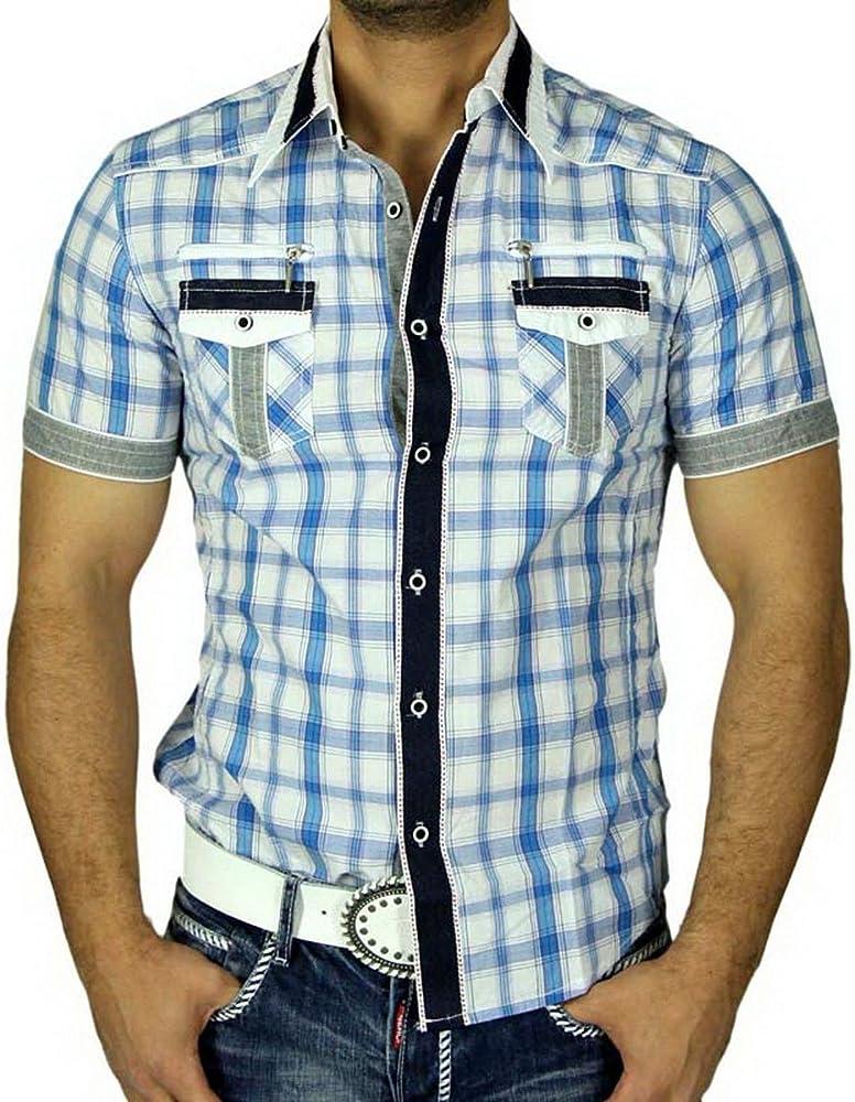 Gov Denim Hombre de cuadros de camisa Slim Fit Polo Manga Corta Camisa Cuadros turquesa 7782 turquesa small: Amazon.es: Ropa y accesorios