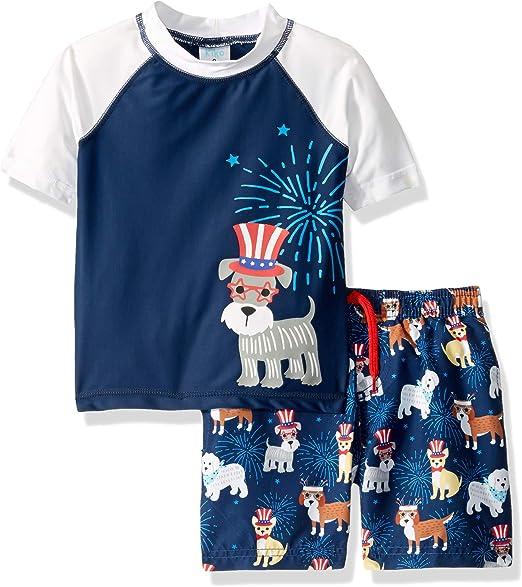 KIKO /& MAX Boys Swimsuit Set with Short Sleeve Rashguard Swim Shirt