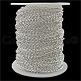 CleverDelights Curb Chain Spool - 3x5mm Link - Shiny Silver Color - 30 Feet - Bulk Jewelry Chain Roll