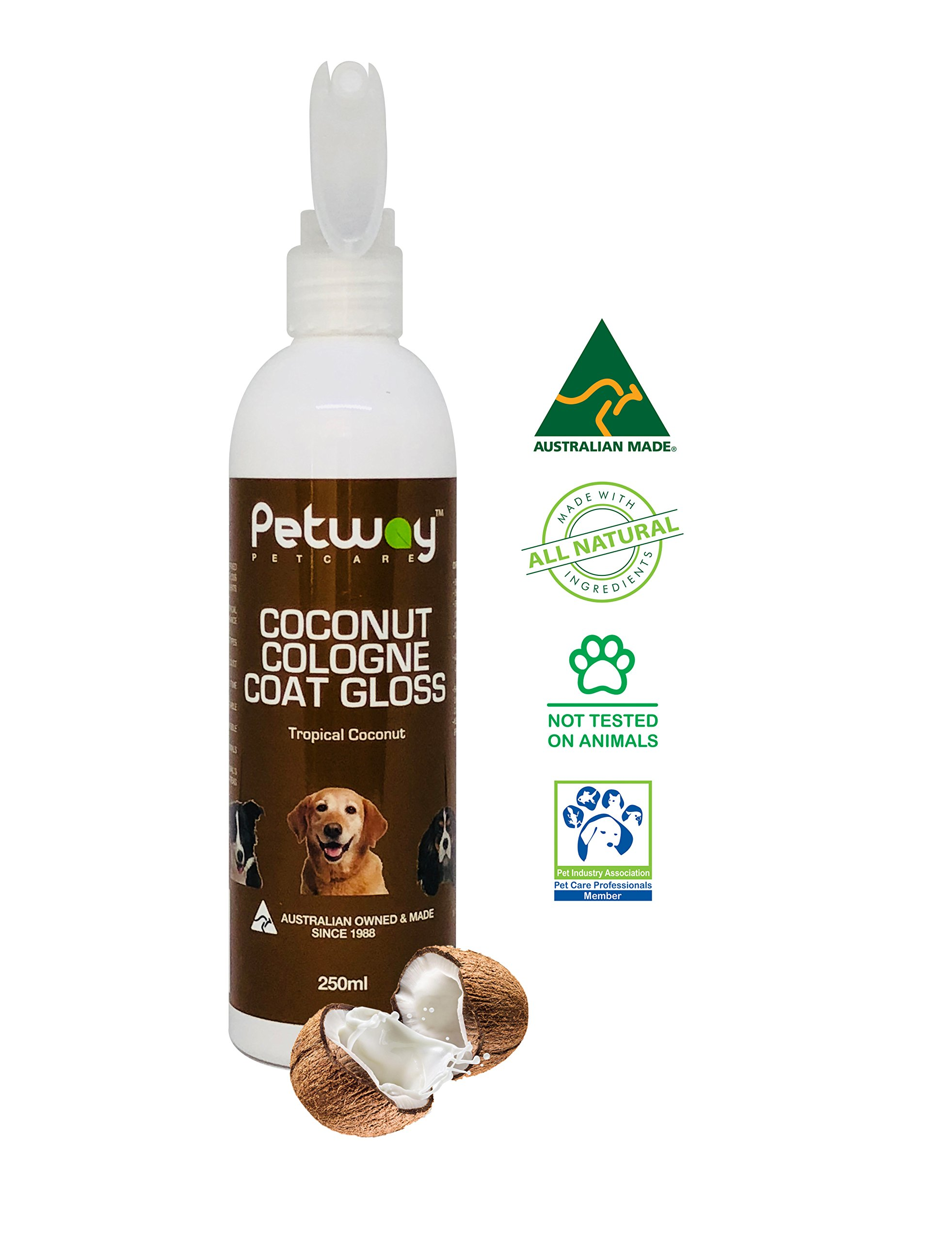 PETWAY Petcare Coconut Cologne Coat Gloss - Natural Cosmetic Dog Cologne Spray with Coconut for Conditioning Qualities, Dog Gloss with Deodorizer, Pet Odor Eliminator and Dog Grooming Spray - 250ml by PETWAY