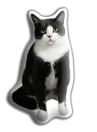Cojín para gato blanco y negro - MIDI - Hermoso cojín para gatos - hecho para acurrucarse. (Tamaño H33 cm x W18 cms): Amazon.es: Hogar