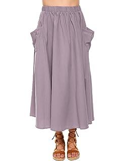 4e5d77fa8e Zeagoo Women s Cotton Linen A-Line Flare Pleated Maxi Skirt with Pockets