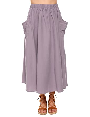 2fb8abb8bb41 Zeagoo Women's Cotton Linen A-Line Flare Pleated Maxi Skirt with  Pockets(Purple,