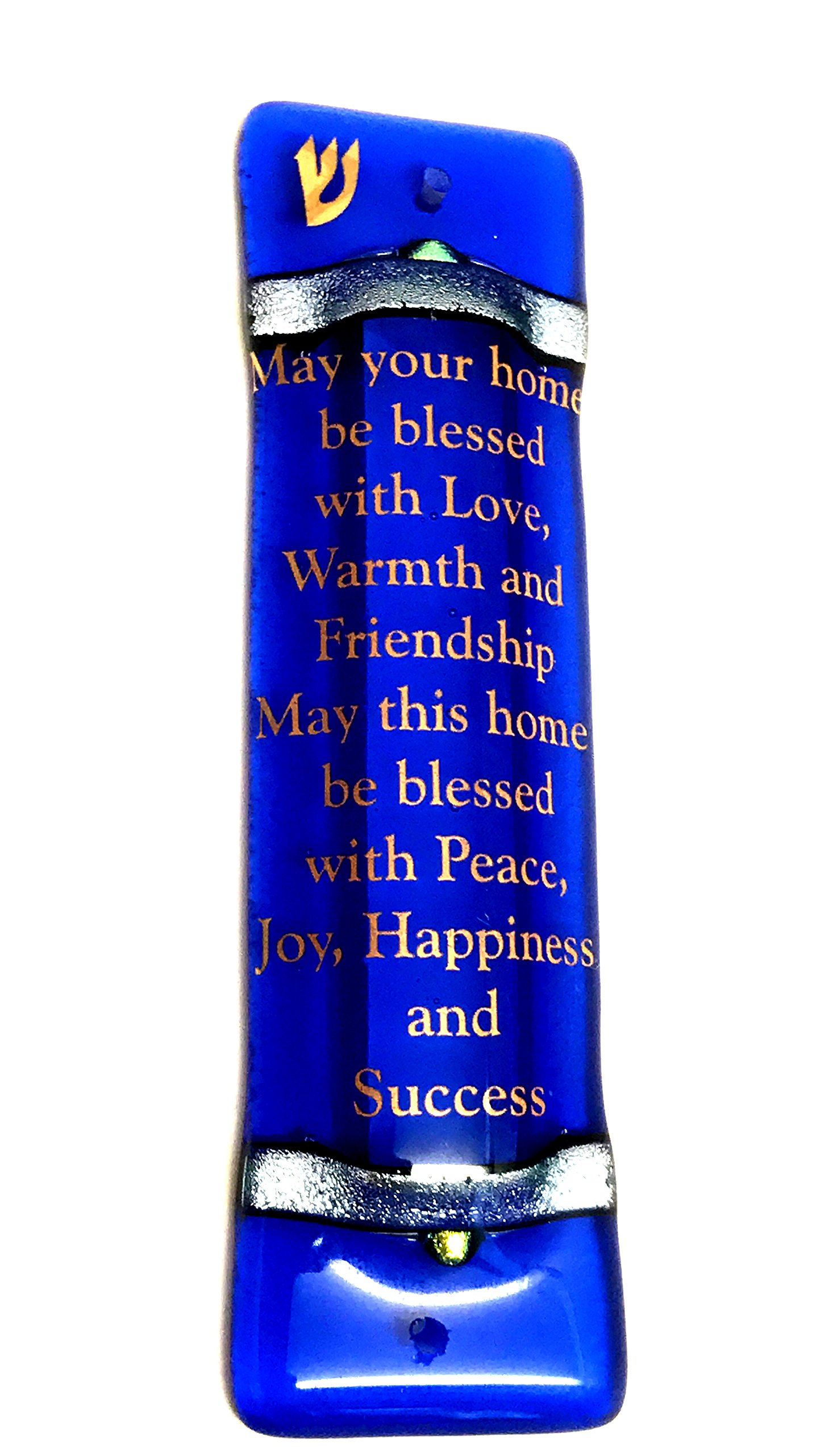 Tamara Baskin Art Glass Sky Blue Art Glass Home Blessing Mezuzah for Door, Gift Boxed with Non Kosher Scroll Included PROUDLY HANDMADE in USA Indoor or Outdoor Use
