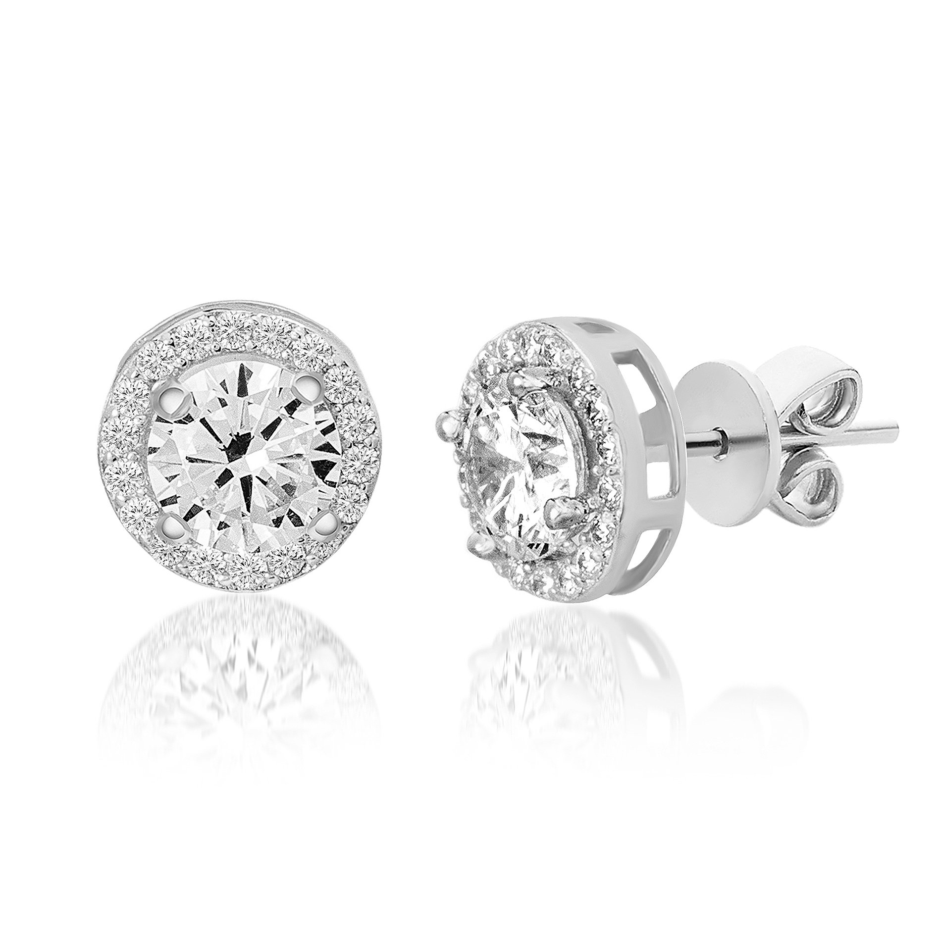 Devin Rose Women's Round Halo Stud Gift Earrings Made With Clear Swarovski Crystals in Sterling Silver (Crystal Imitation April Birthstone)