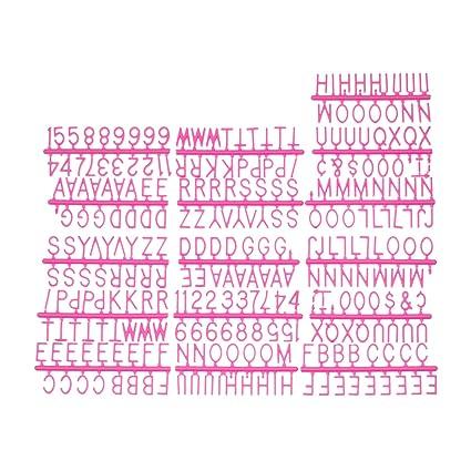 Fisura DC0417 Numeros, Letras y Simbolos Extra Intercambiables Color Rosa para Tablero Vintage Letter Board 286 Piezas